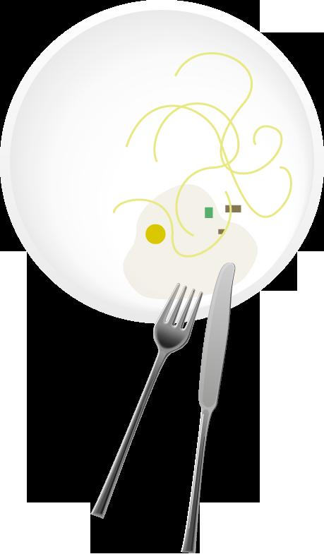 assiette avec restes de repas